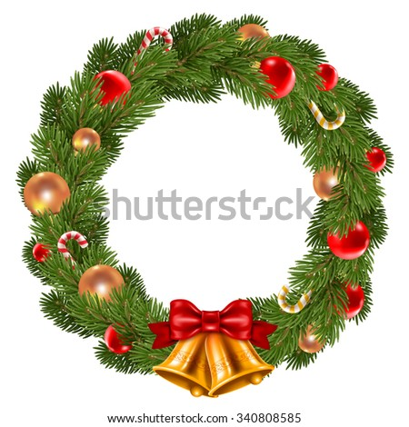 Fluffy Christmas wreath with fir-tree branches and christmas decorations. Red and golden christmas balls, jingle bells and candy canes. Isolated on white background. Vector illustration. - stock vector