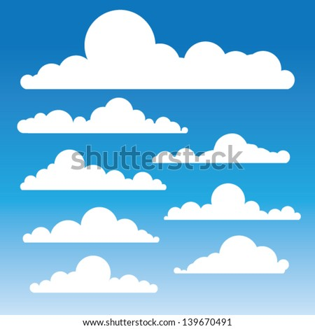 Fluffy clouds vector - Collection of stylized cloud silhouettes, great for clipart or icon creation - stock vector