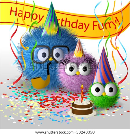 Fluffy family birthday picture - stock vector