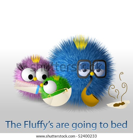 Fluffy family goes to bed