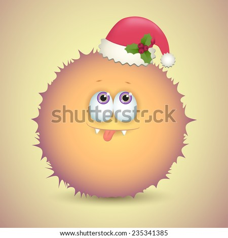 Fluffy monster with Christmas hat. Vector illustration - stock vector