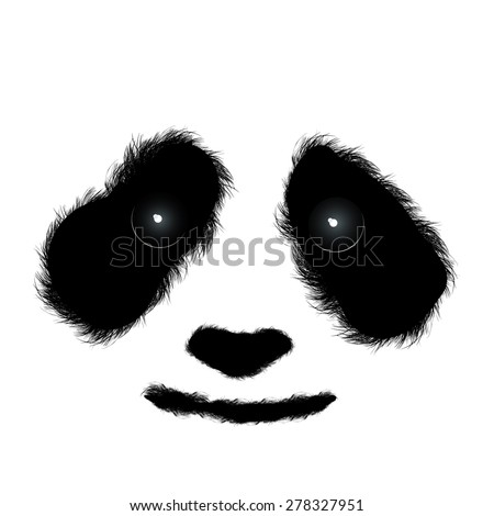 Fluffy panda face isolated - stock vector