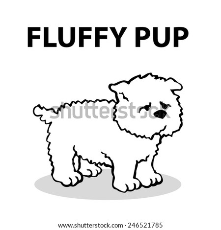 Fluffy pup, simple vector dog illustration - stock vector