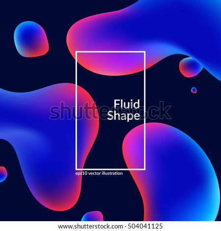 Fluid colors shape on black. Modern background with trendy design. Eps10 vector.