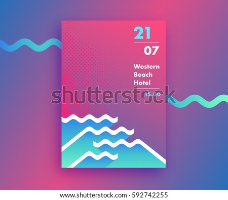 Fluid gradients abstract poster design with waves' shapes, summer and beach party background, modern vector vertical A4 banner.