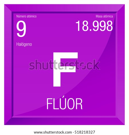 Fluor Symbol Fluorine Spanish Language Element Stock Vector
