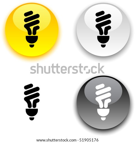 Fluorescent bulb glossy round vector buttons. - stock vector