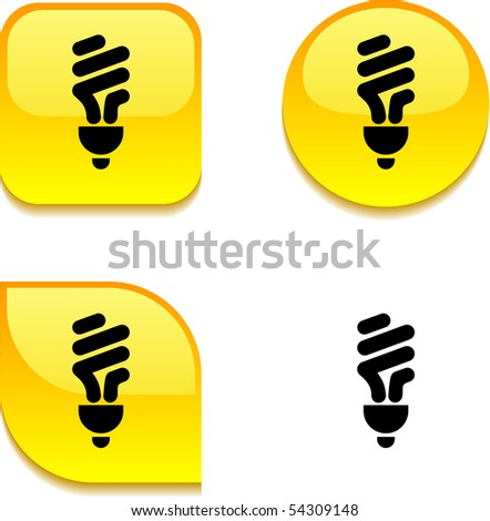 Fluorescent bulb glossy vibrant web buttons. - stock vector
