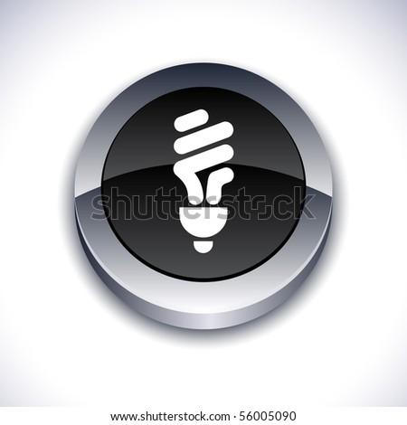 Fluorescent bulb metallic 3d vibrant round icon. - stock vector