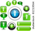 Fluorescent bulb vector glossy icons. - stock photo