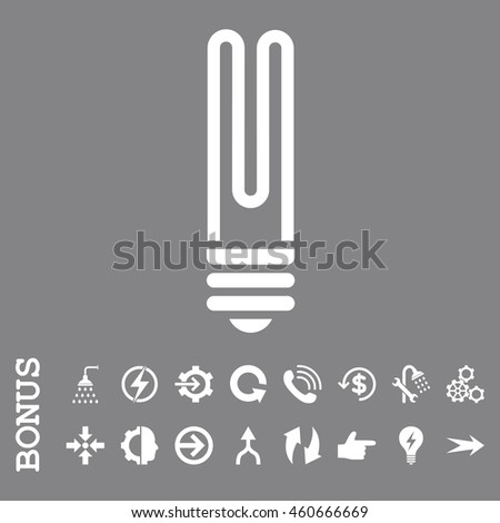 Fluorescent Bulb vector icon. Image style is a flat pictogram symbol, white color, gray background.