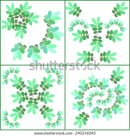 Fluorescent color curved leaves pattern?vector - stock vector