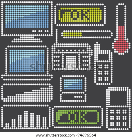fluorescent dot-based icons and signs set with gadgets for control screens, terminals, info screens and web design. more icons are available. vector illustration - stock vector