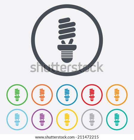 Fluorescent lamp bulb sign icon. Energy saving. Idea and success symbol. Round circle buttons with frame. Vector - stock vector