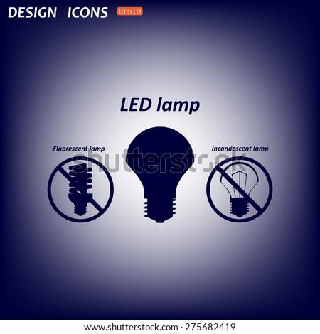 fluorescent lamp, LED lamp, incandescent bulb . icon. vector design - stock vector