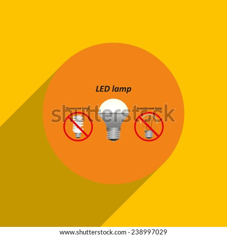 fluorescent lamp, LED lamp, incandescent bulb on an orange background with shadow, vector, EPS 10 - stock vector