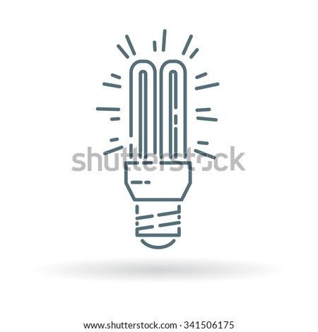 Fluorescent light bulb icon. CFL lighting sign. Low energy light symbol. Thin line icon on white background. Vector illustration. - stock vector