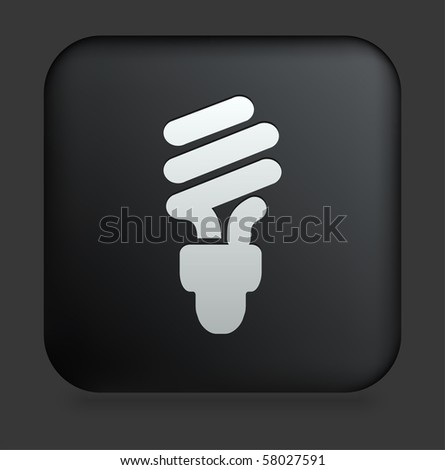 vector square blue icon lighting bulb. fluorescent light bulb icon on square black internet button original illustration vector blue lighting
