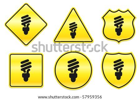 Fluorescent Light Bulb Icon on Yellow Designs Original Illustration - stock vector