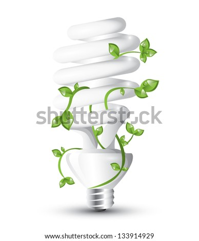 Fluorescent lightbulb with growing plant, EPS 10, isolated - stock vector