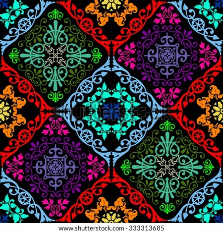 Fluorescent seamless tapestry - stock vector