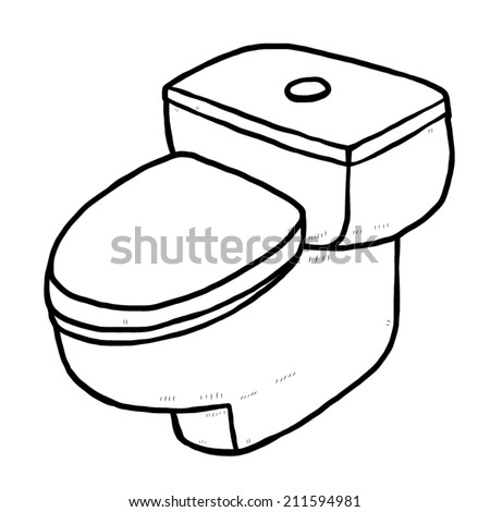 Flush Toilet Cartoon Vector And Illustration Black White Hand Drawn Sketch