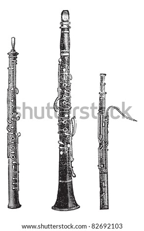 Flute, Clarinet, and Bassoon, vintage engraved illustration. Trousset encyclopedia (1886 - 1891). - stock vector