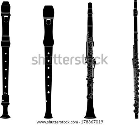 Flutes black - stock vector