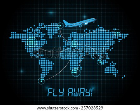 Fly away map - blue design - stock vector