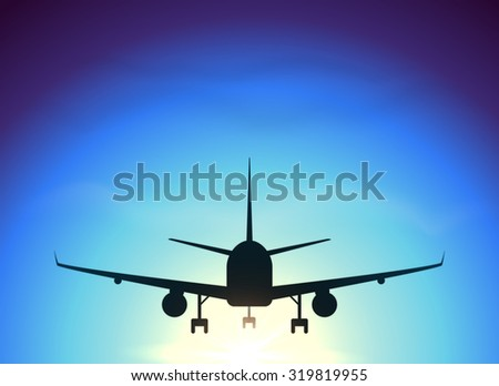 Fly away plane on blue sky background, vector silhouette - stock vector