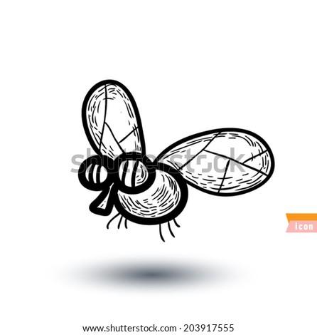 Fly cartoon, vector illustration. - stock vector
