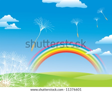 fly dandelion a nature background - stock vector