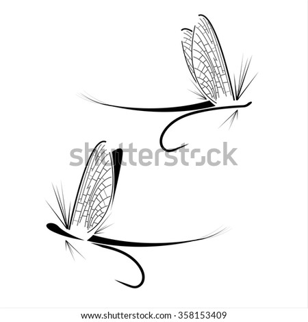 Fly fishing icons on the white background - stock vector