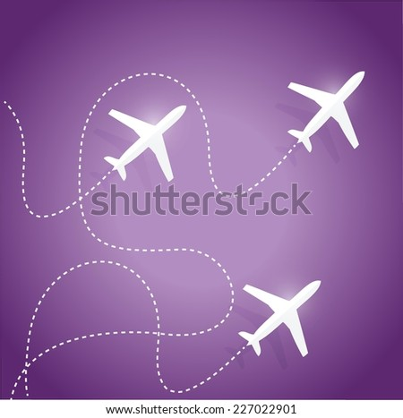 fly routes and airplanes. illustration design over a purple background - stock vector