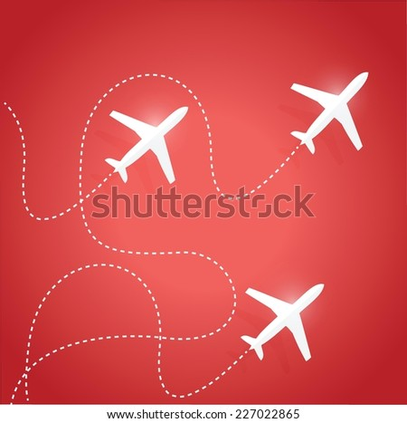 fly routes and airplanes. illustration design over a red background - stock vector