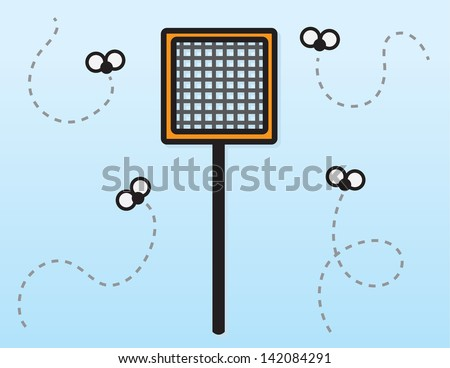 Fly swatter with flying bugs  - stock vector