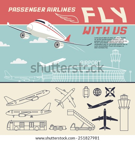 Fly with us. Airport and airplane illustration with outline icons set - stock vector