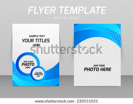 Flyer back and front design template in blue color - stock vector