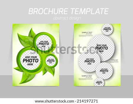 Flyer back and front template design with leaves and circles in green color - stock vector