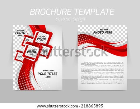 Flyer back and front template design with red wave line and squares - stock vector