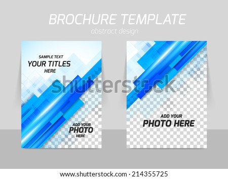 Flyer back and front template design with straight blue lines - stock vector