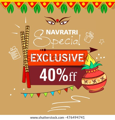 Navratri celebration stock images royalty free images vectors flyer banner or poster design for sale offer tags on the occassion of shubh stopboris Image collections