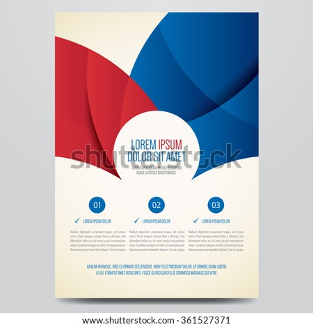 Flyer, brochure, annual report, magazine cover vector template. Modern red and blue corporate design. - stock vector