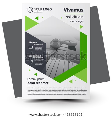 Flyer brochure design, business flyer size A4 template, creative leaflet, trend cover geometric - stock vector