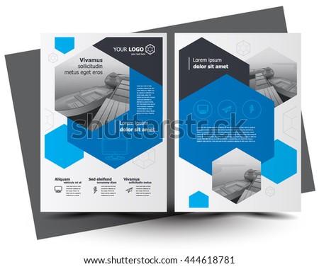 Flyer brochure design, business flyer size A4 template, creative leaflet, trend cover hexagon blue, set flyer - stock vector