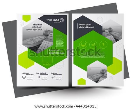 Flyer brochure design, business flyer size A4 template, creative leaflet, trend cover hexagon green - stock vector