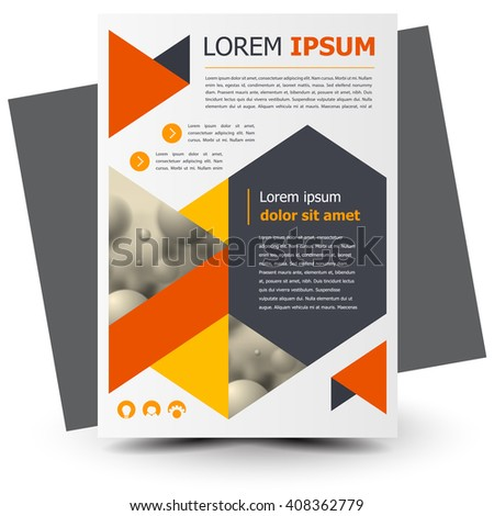 Flyer brochure design, business flyer size A4 template, creative leaflet, trend cover triangles - stock vector