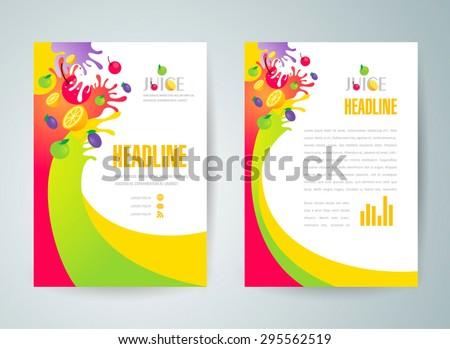 flyer brochure design template abstract fruit juice liquid drops splash colorful - stock vector