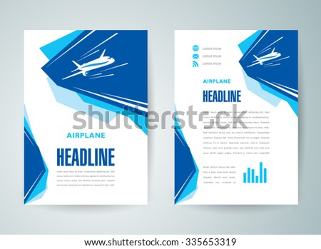 flyer brochure design template airplane flight takeoff blue white color travel transportation