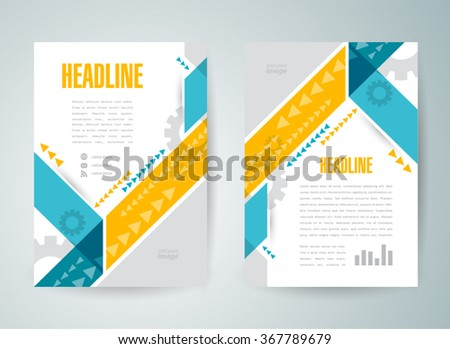 flyer brochure design template cover abstract stripes and arrows - stock vector
